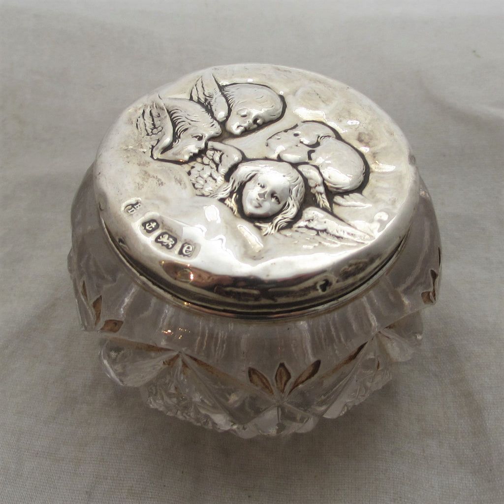 Silver Topped Glass Pot With Cherubs Antique Edwardian Birmingham 1904