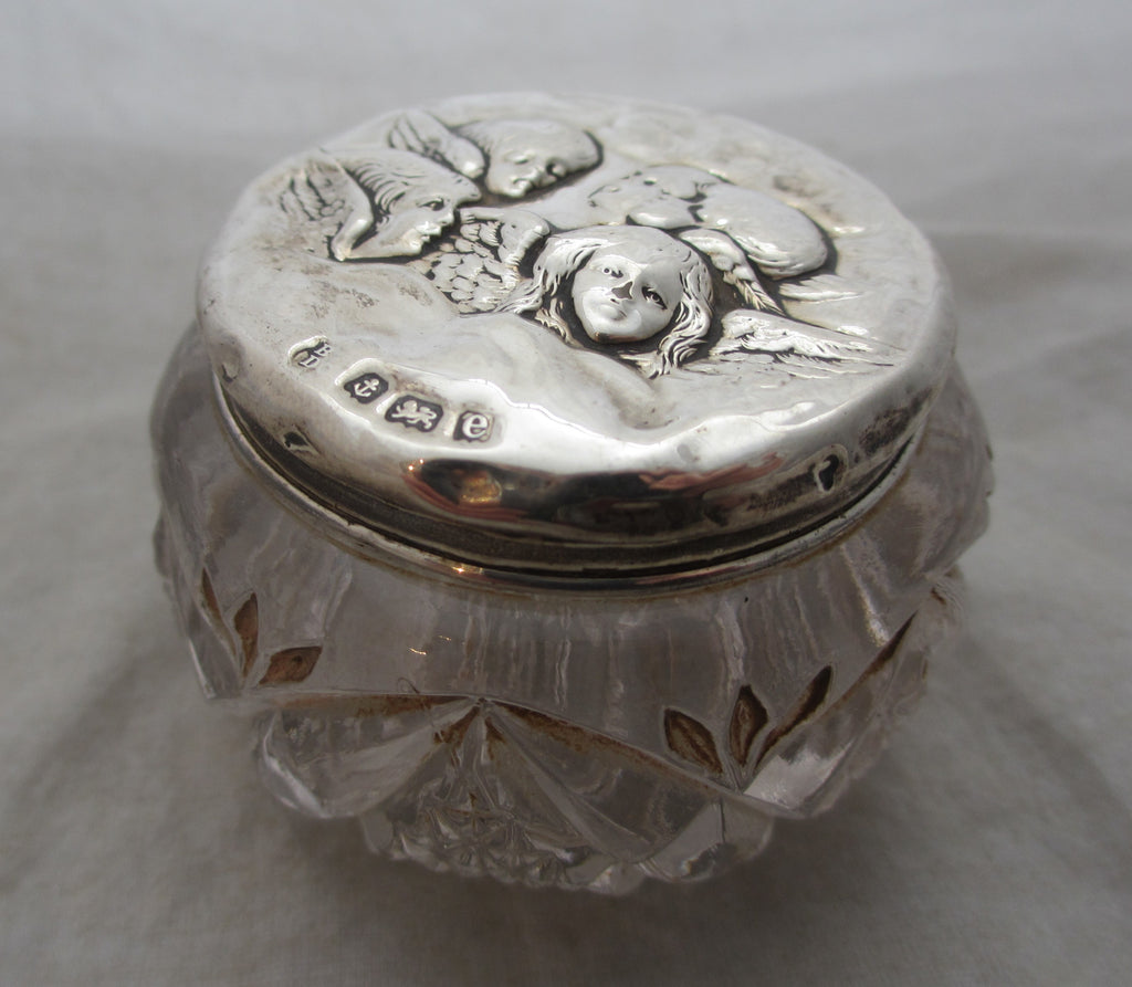 Sterling Silver Topped Glass Pot With Cherubs Antique Edwardian Birmingham 1904