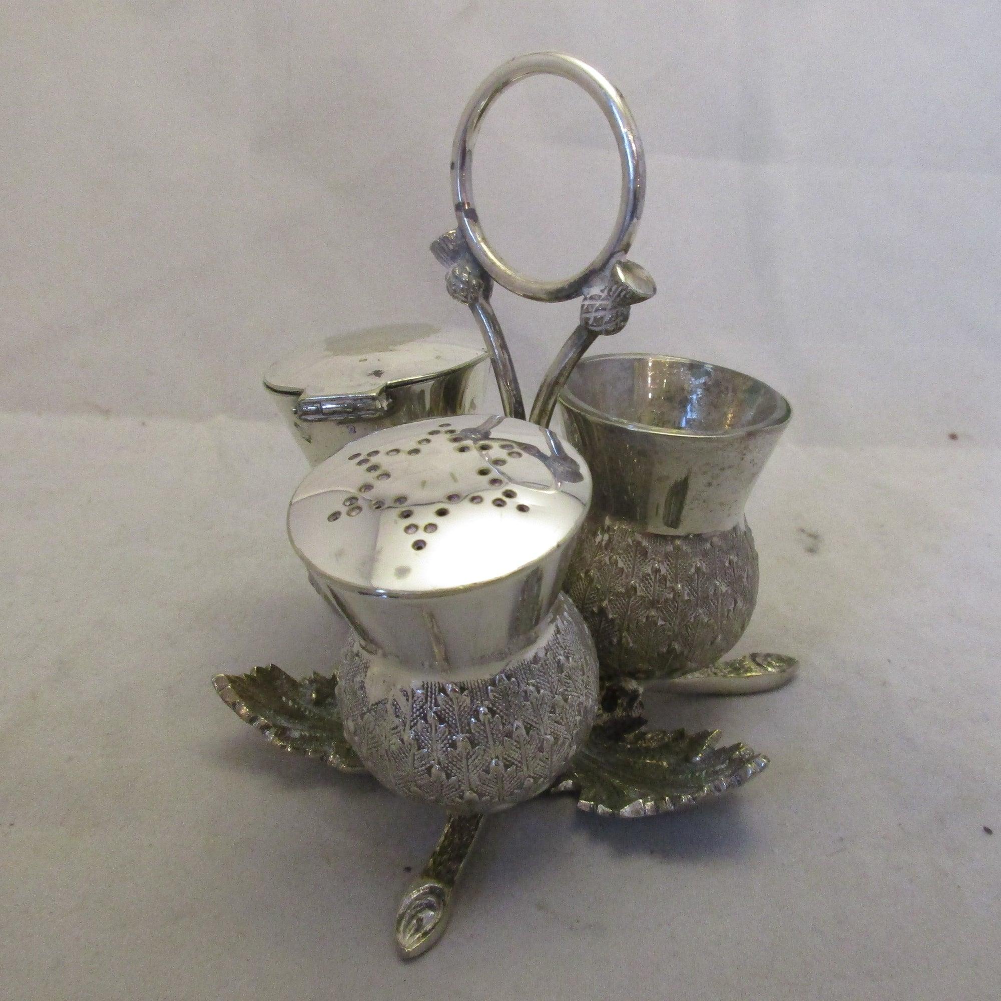 Silver plated Scottish Thistle Cruet Set Antique Edwardian c1910.