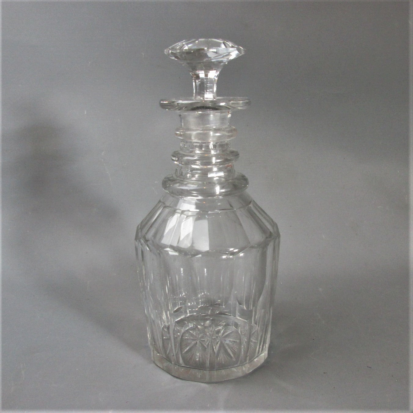 Slice & Flute Cut Glass 3 Ring Decanter Antique c1830