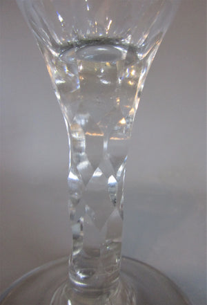 Small Hexagonal Cut Faceted Stem Goblet Antique Georgian c1775