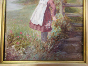 Small Oil on Board - Young Girl Picking Flowers Antique.