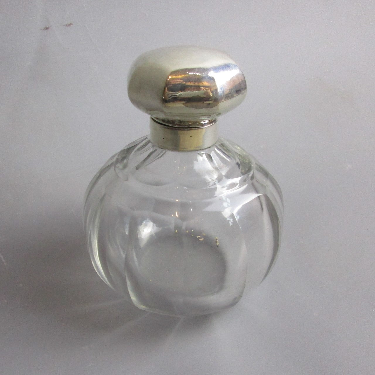Sterling Silver And Cut Glass Scent Bottle Antique Edwardian Birmingham 1910