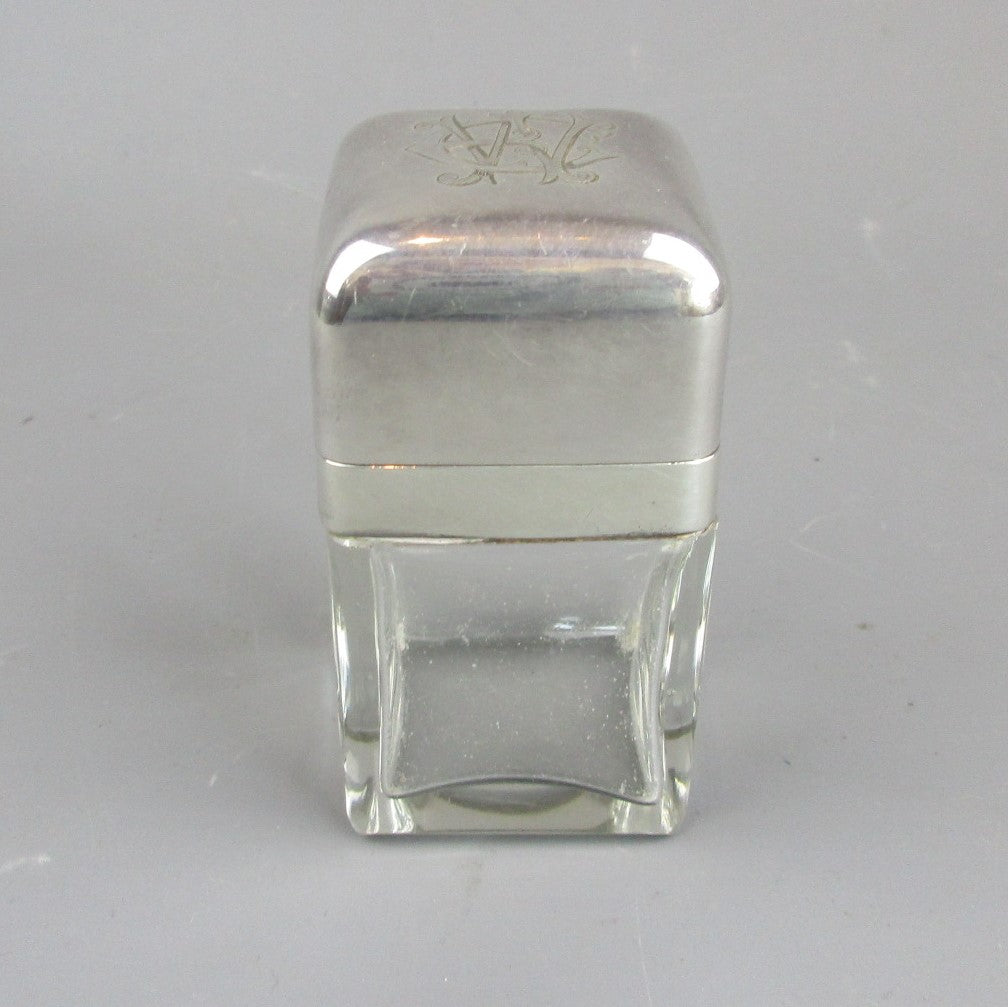 Sterling Silver And Glass Perfume Jar Antique Edwardian Birmingham 1902