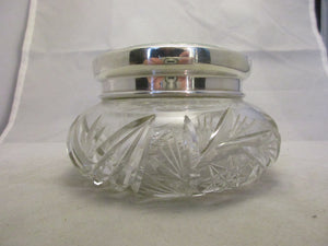 Sterling Silver, Crystal Glass & Enamel Trinket Vintage 1930.