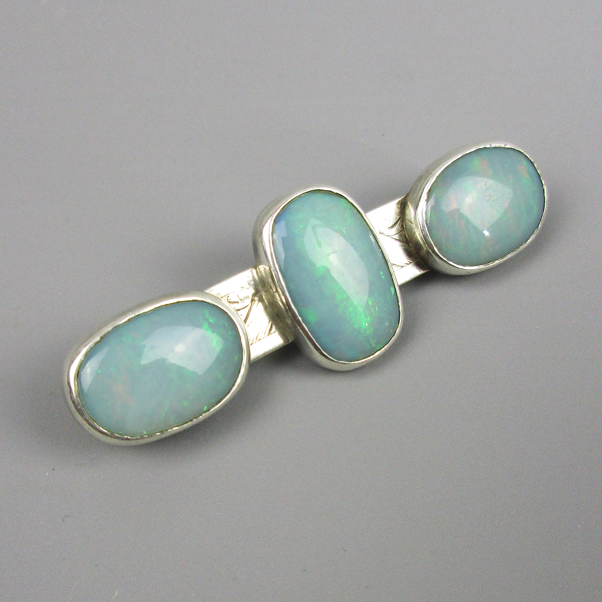 Sterling Silver and Opal Mounted Brooch 'Pan' London Vintage c1981