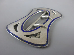 Sterling Silver & Enamel Belt Buckle Birmingham Antique c1912