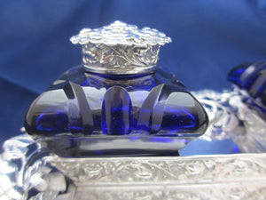 Sterling Silver Inkwell Stand With Inkwells Antique Early Victorian 1847.
