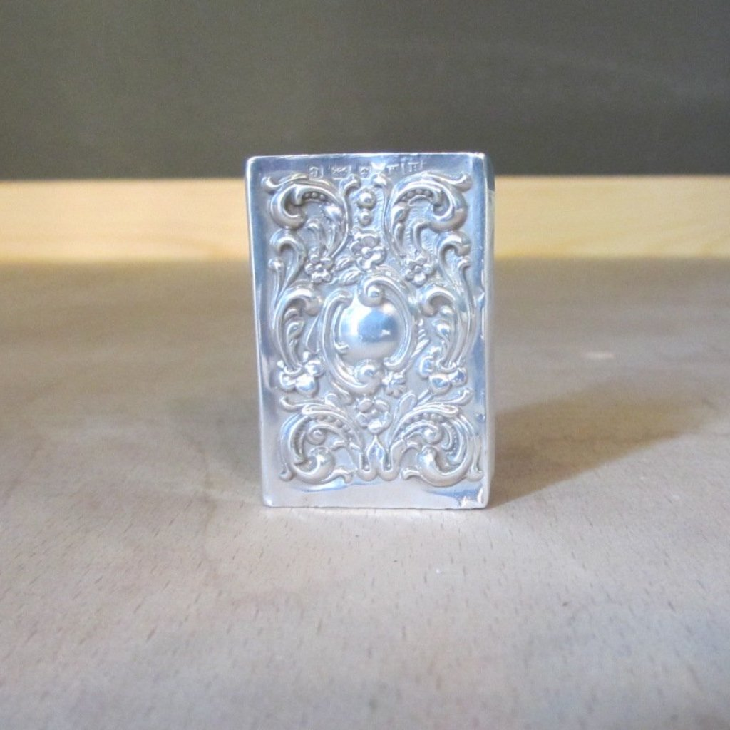 Sterling Silver Ornate Matchbox Holder Antique Edwardian Birmingham 1902-03.