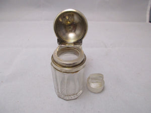 Sterling Silver Top Cut Glass Jar with Glass Stopper Birmingham Edwardian Antique 1903