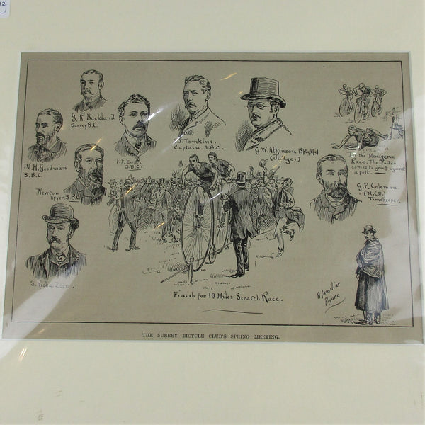 The Surrey Bicycle Club's Spring Meeting Sport Print Antique c1884.