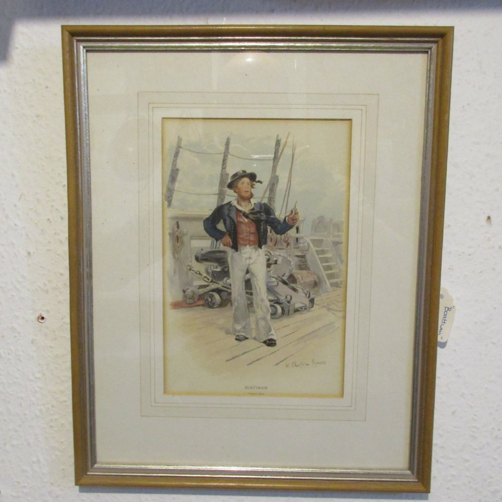 'The Boatswain' Handcoloured Print Antique Victorian C1900.