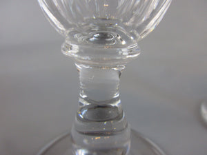 Three Matching Cut Glass Sherry Glasses Antique Victorian c1850.