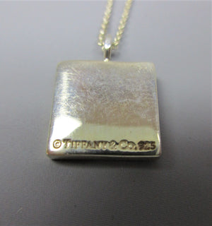 Tiffany & Co Silver 'Note' Range Square Pendant on Chain Contemporary