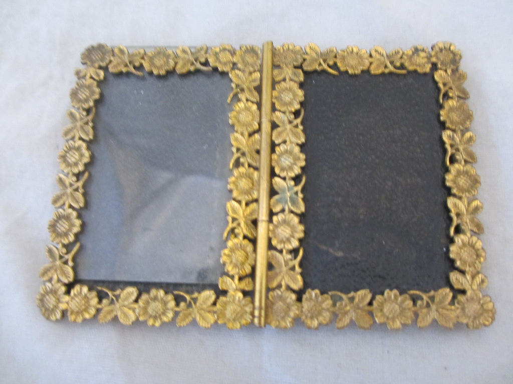 Brass Miniature Double Photo Frame with Flower & Leaf Design, Antique Victorian c.1890.