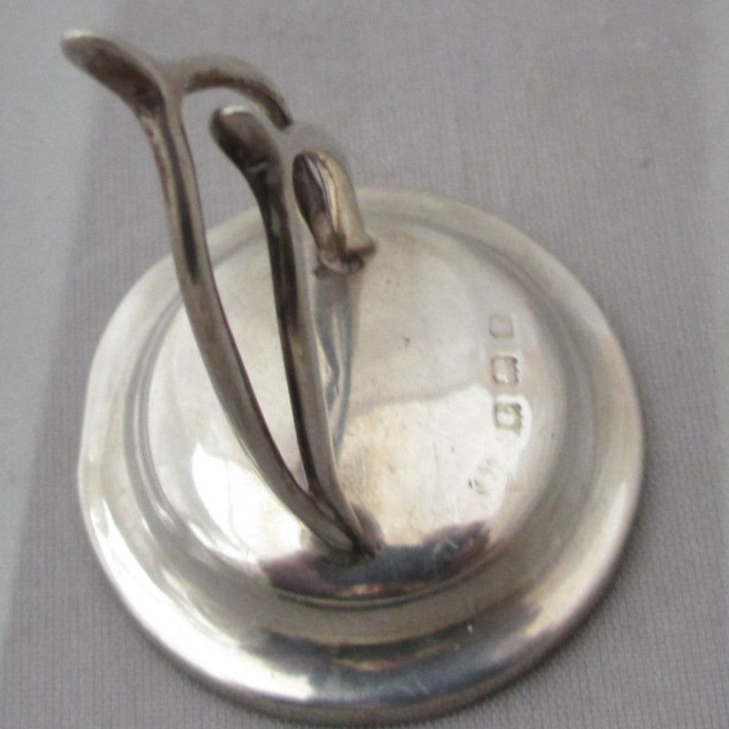 Sterling Silver Menu Holder In The Form Of Wishbones C1909.