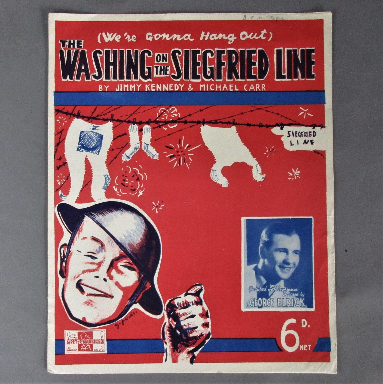 WW2 Sheet Music 'Washing on the Siegfried Line' Vintage c1939