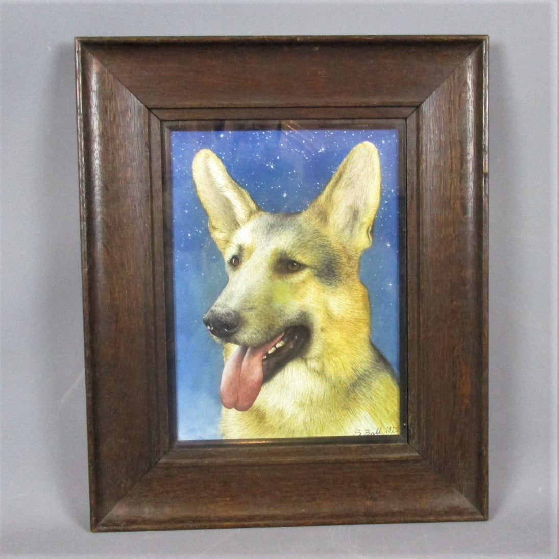 Watercolour Painting of an Alsatian by S Ball Antique c1925