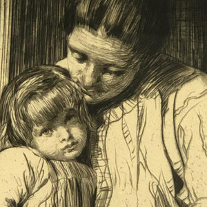 William Lee-Hankey Etching Mother And Daughter Antique c1900