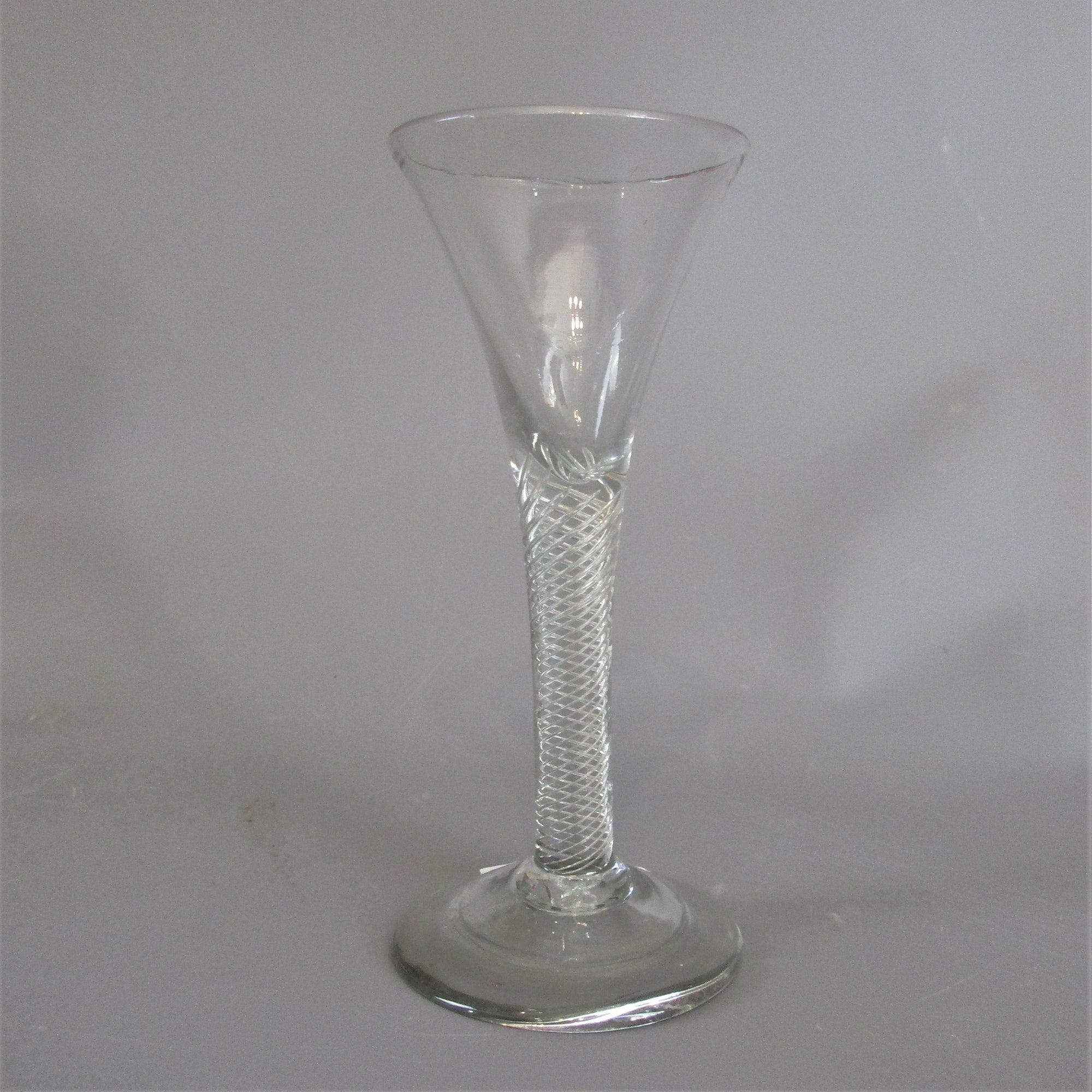 Wine Glass with Drawn Trumpet & Air Twist Stem Antique Georgian c1745