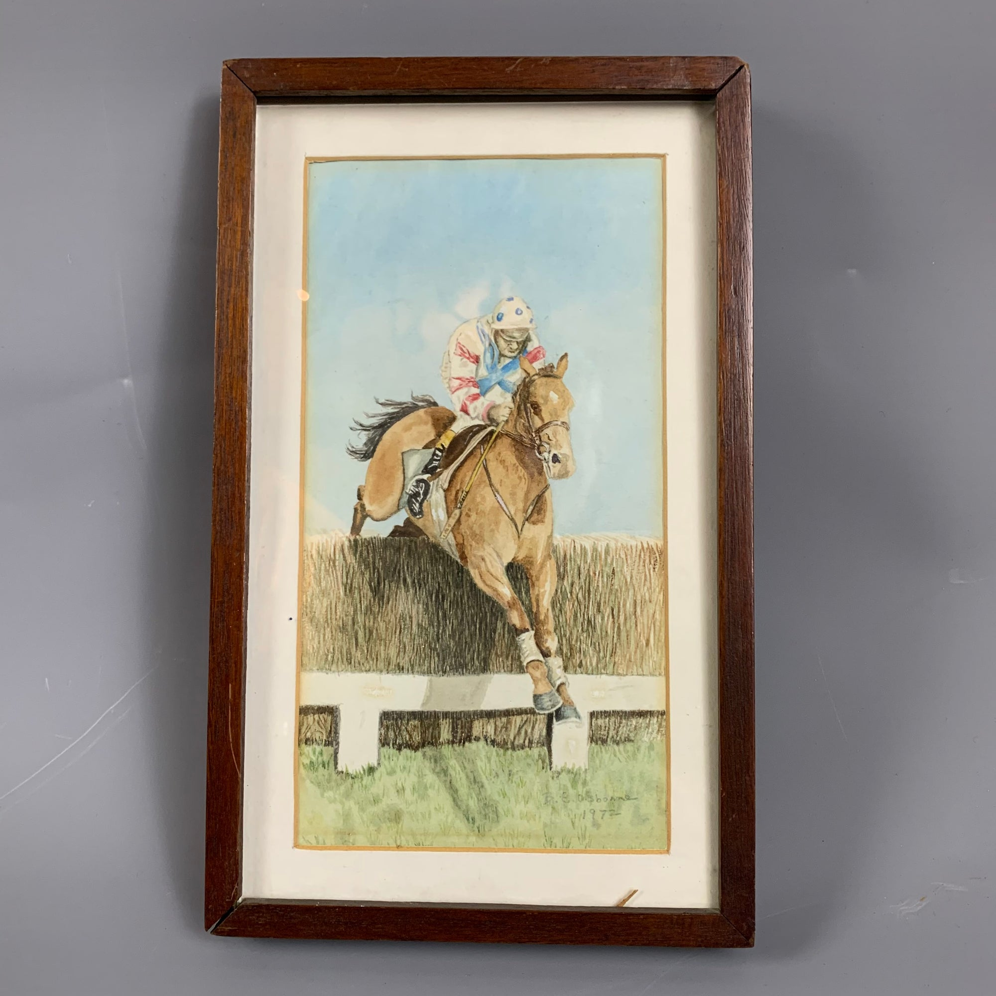 Wooden Frame Watercolor Painting On Canvas Title Jockey On Horse By Biddlecombe Vintage c1972