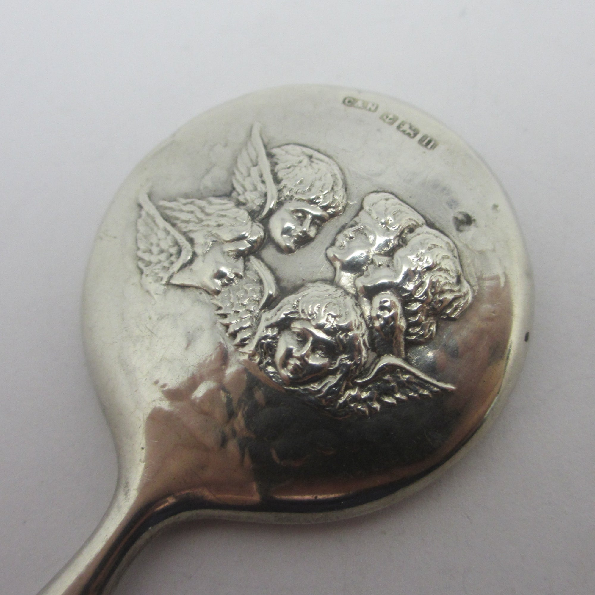 Cherub Miniature Doll Hand Mirror Sterling Silver Antique Edwardian by Crisfords Norris
