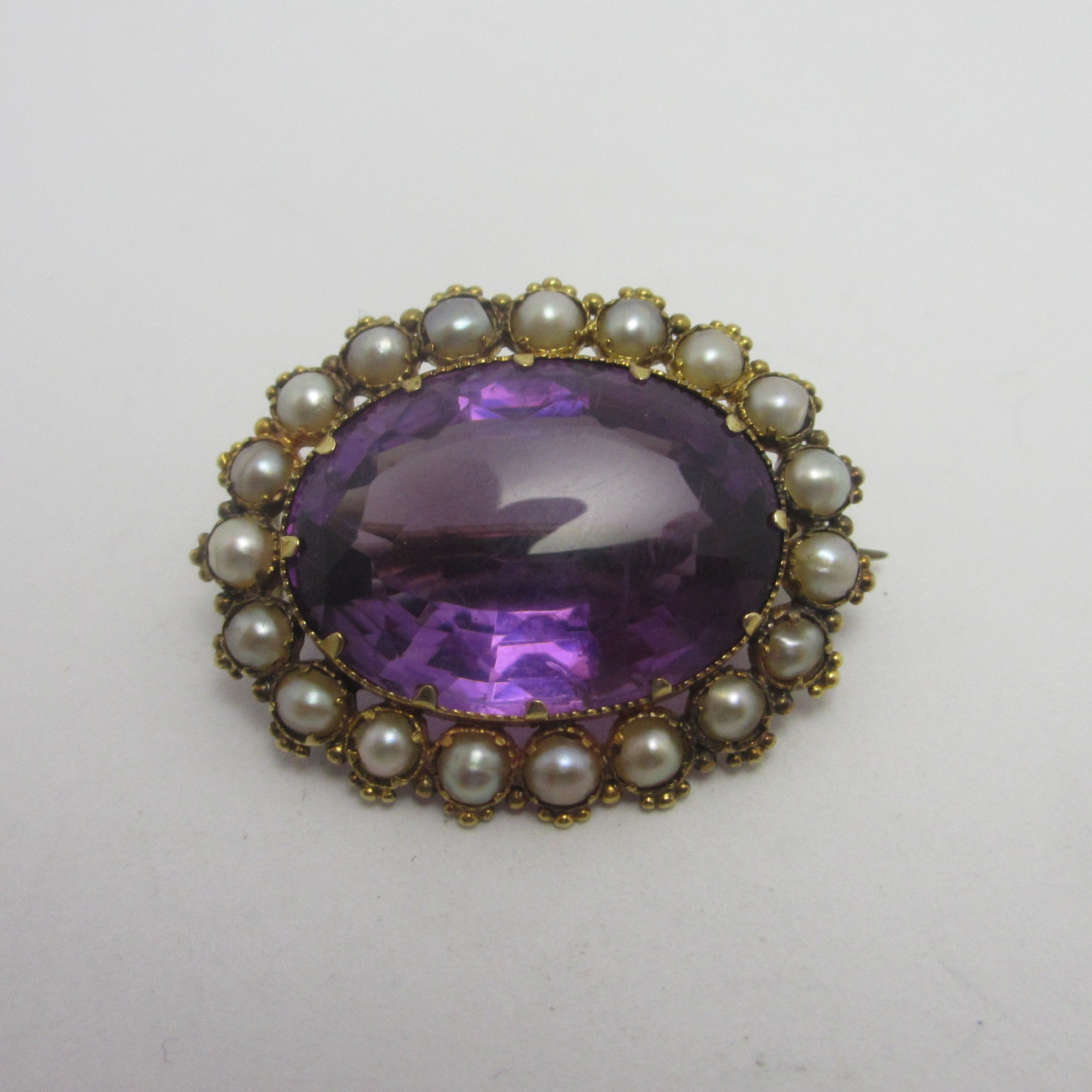 Large Real Amethyst Seed Pearl 9k Gold Brooch Pin Antique Victorian c1890