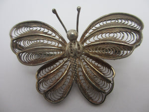 Filigree Sterling Silver Butterfly Brooch Pin Antique Edwardian c1910