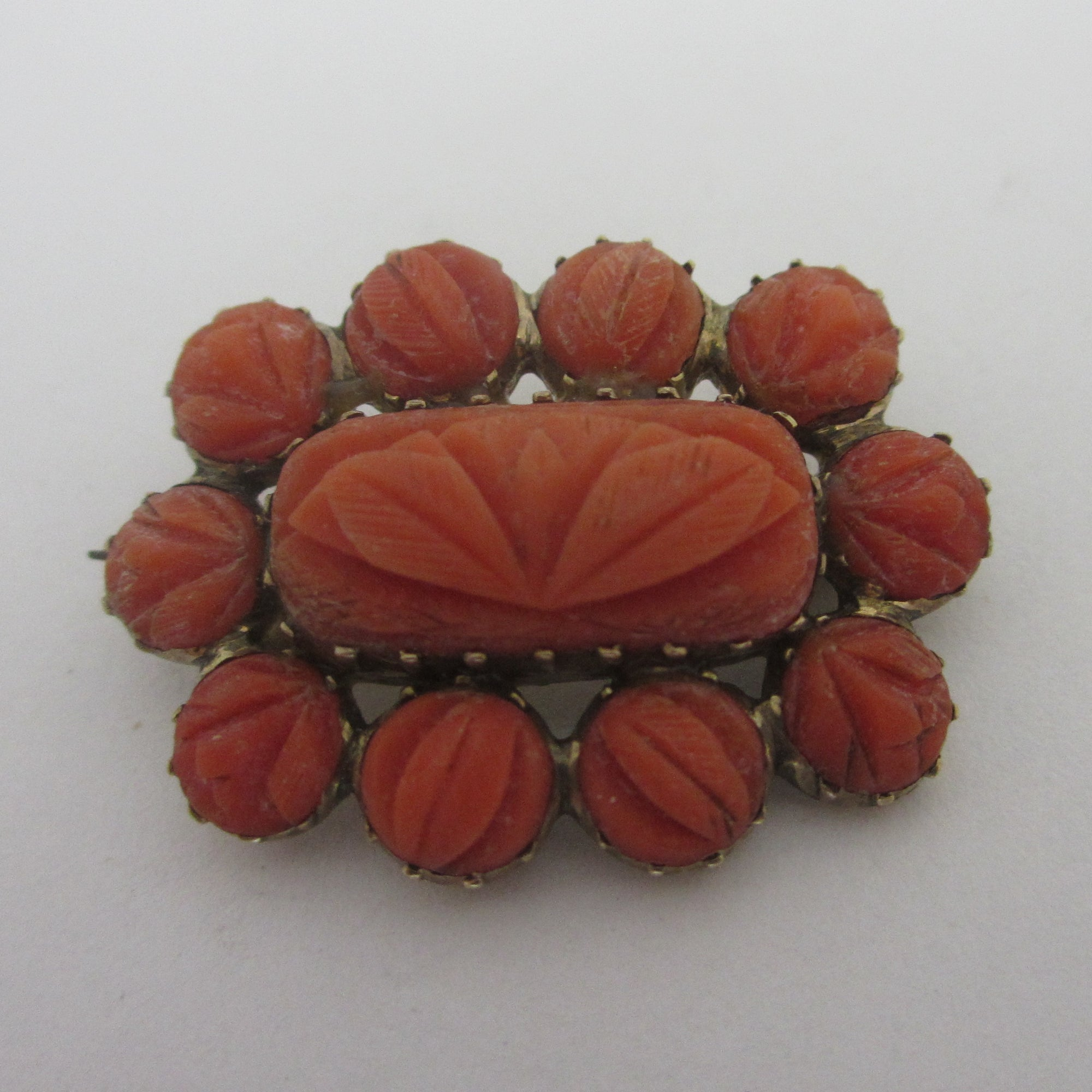 Carved Coral Brooch Pin Antique Georgian c1820