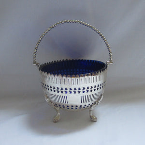Bristol Blue Liner Silver Plate Sugar or Sweetmeat Bowl Antique Victorian c1890