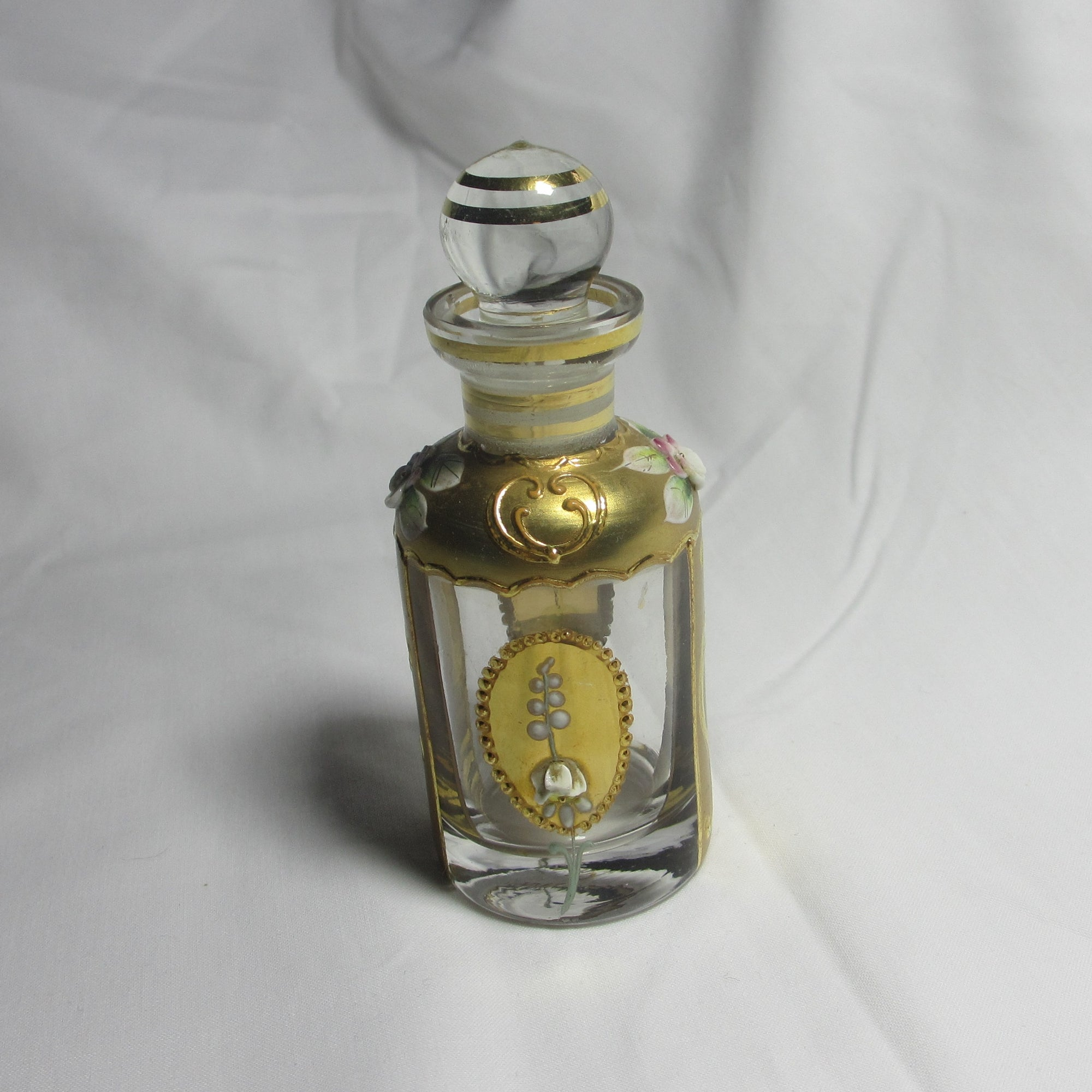 Floral Venetian Glass Scent Bottle Antique Edwardian c1910