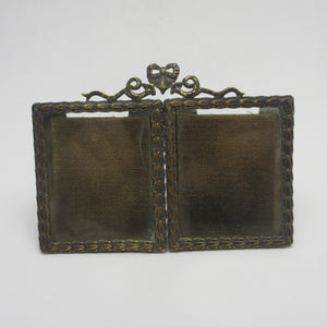Double Photo Picture Frame Gilt Metal Antique Victorian c1900.