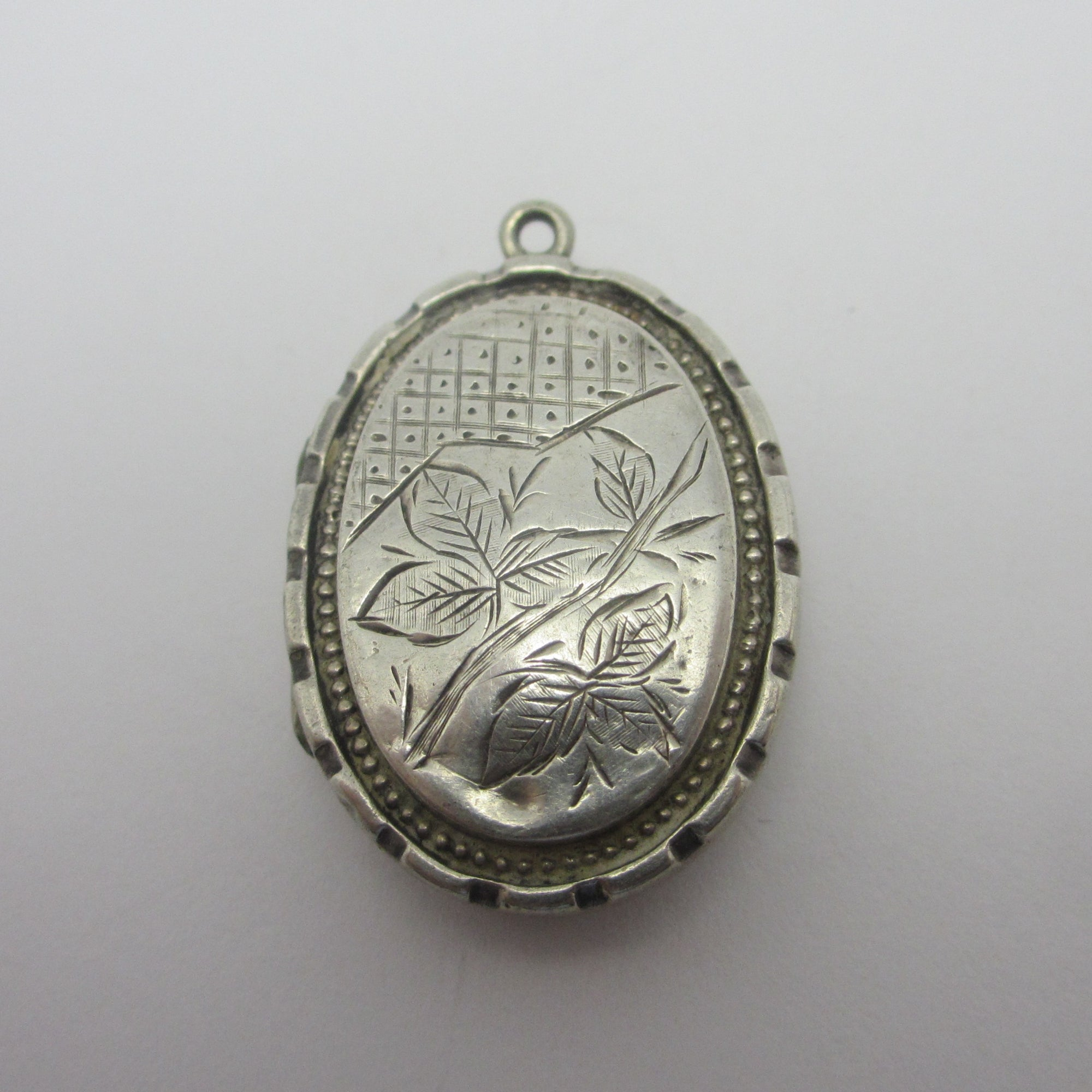 Ivy Leaf Sterling Silver Double Locket Pendant Antique Victorian c1890