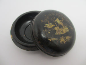 Chinese Kang Xi Black Lacquer Box Scholar Under Tree Antique 18th Century