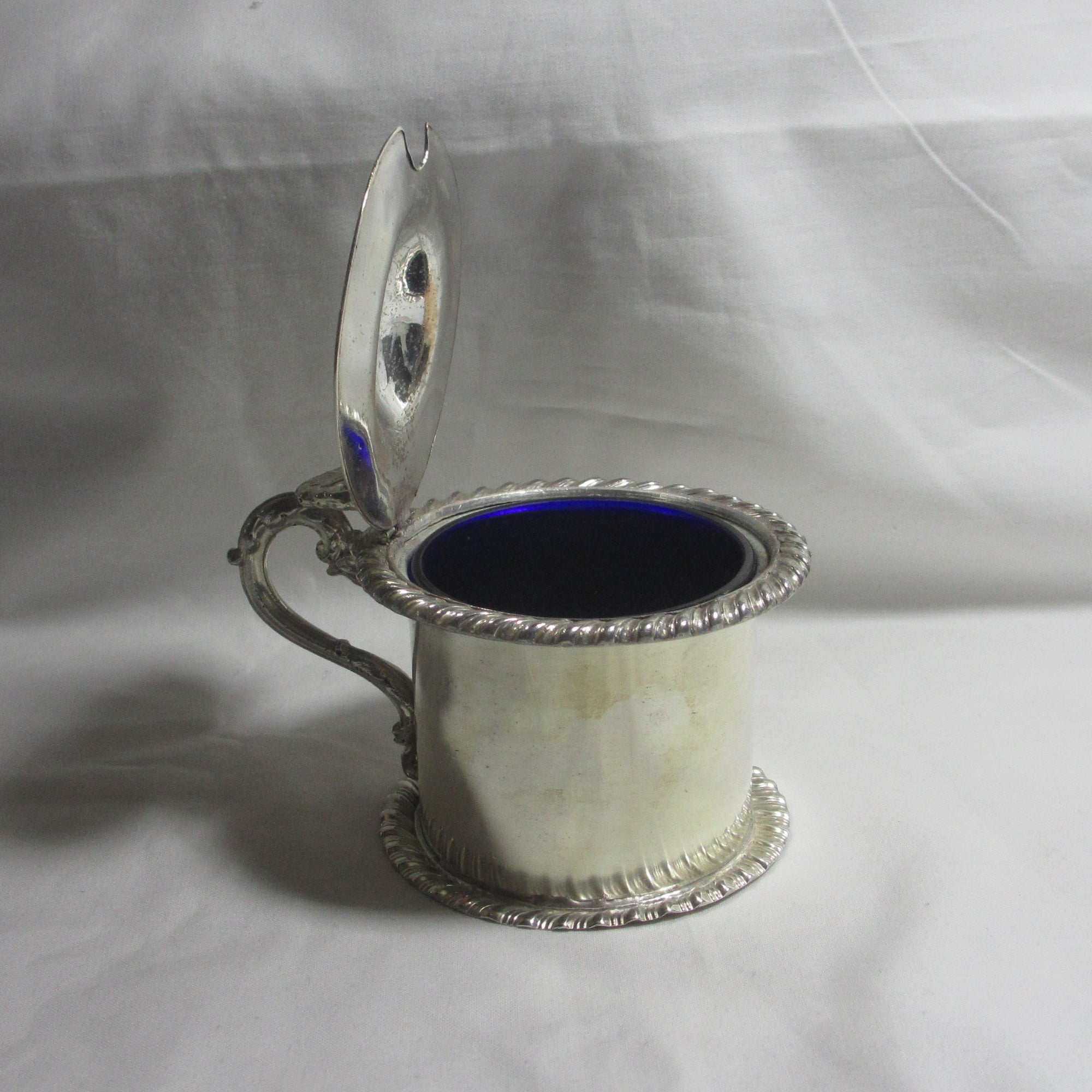 Old Sheffield Silver Plate Mustard Pot Cobalt Blue Liner Antique Georgian c1830