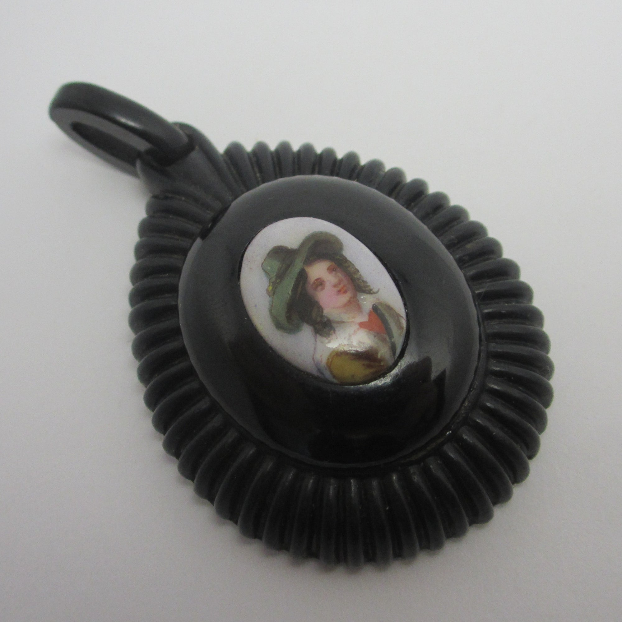 Miniature Portrait on Porcelain Whitby Jet Mourning Pendant Antique Victorian c1860