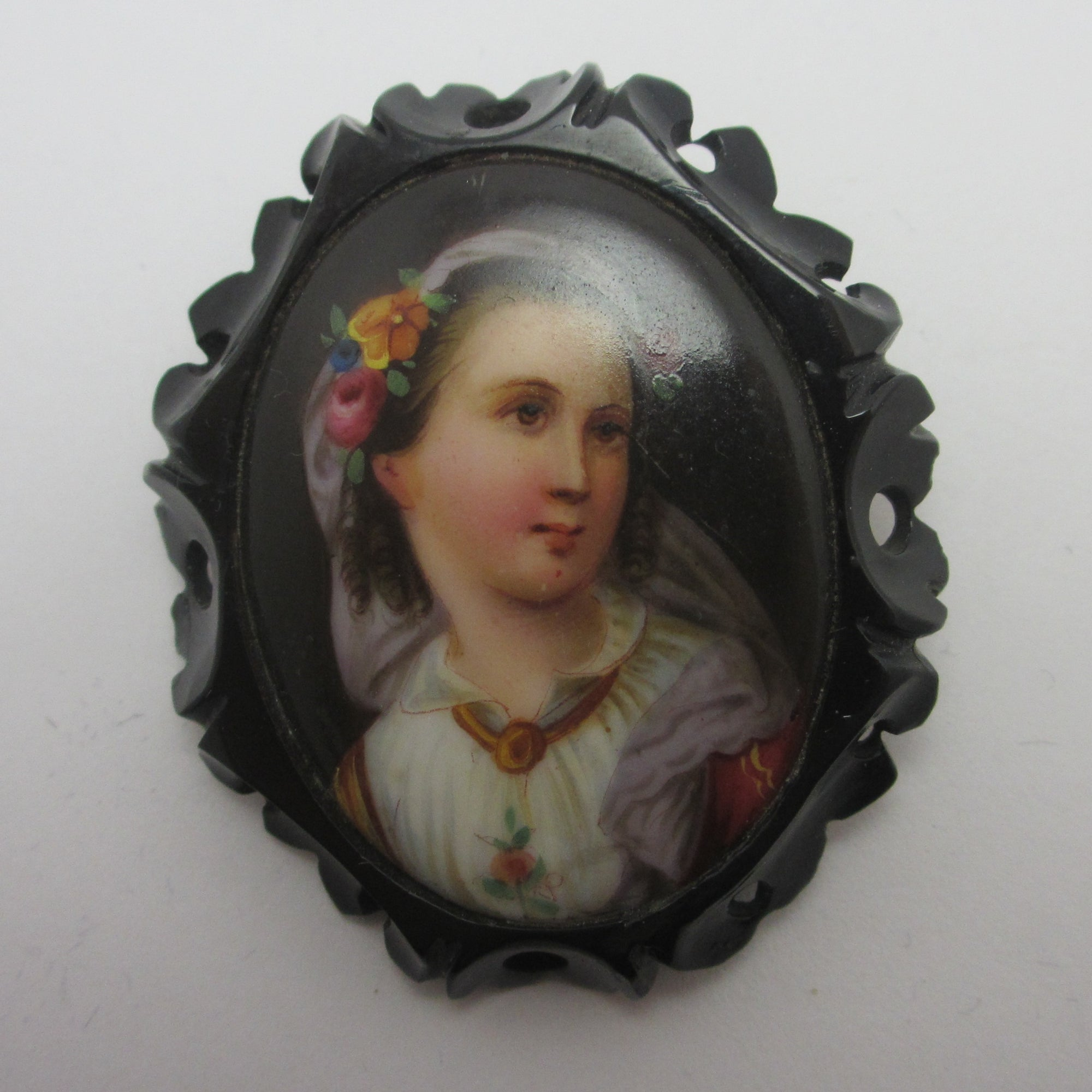 Porcelain Portrait of a Lady Whitby Jet Brooch Pin Antique Victorian c1860