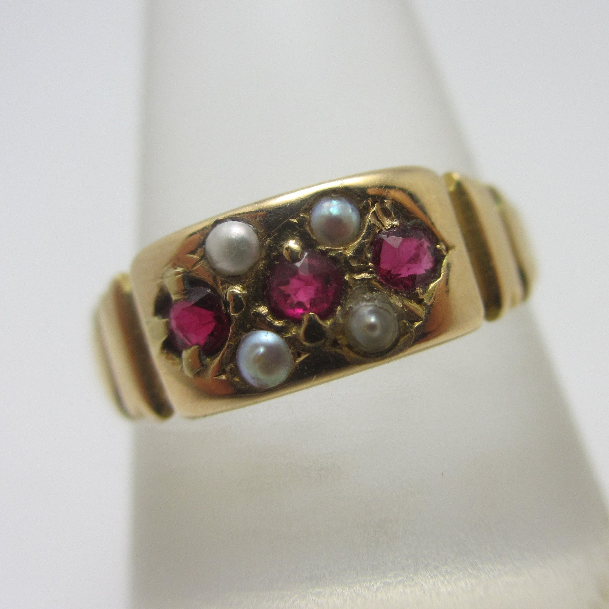 Ruby & Seed Pearl 15k Gold Ring Antique English 1888 Victorian