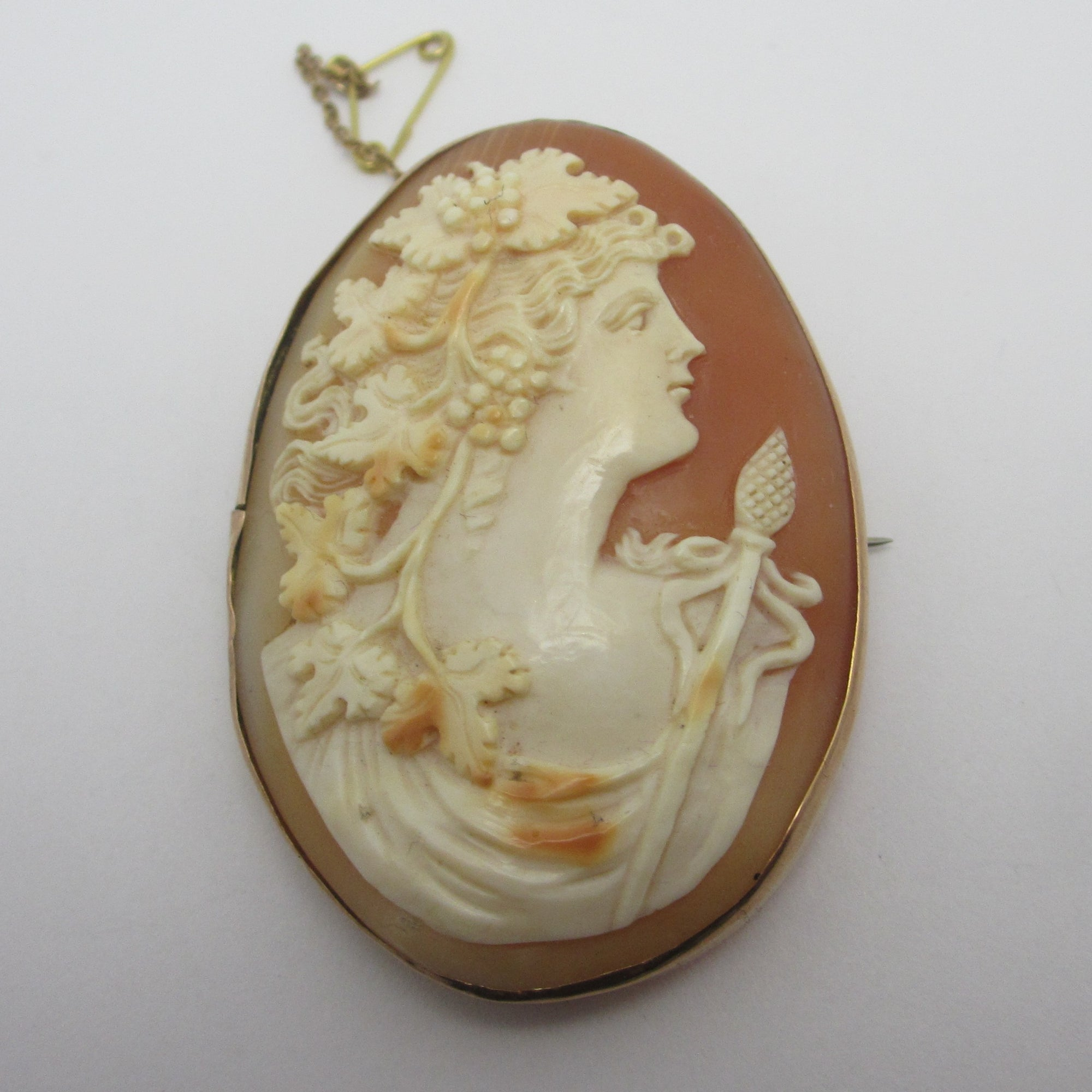 Real Shell Cameo 9k Gold Brooch Pin Antique Victorian c1860