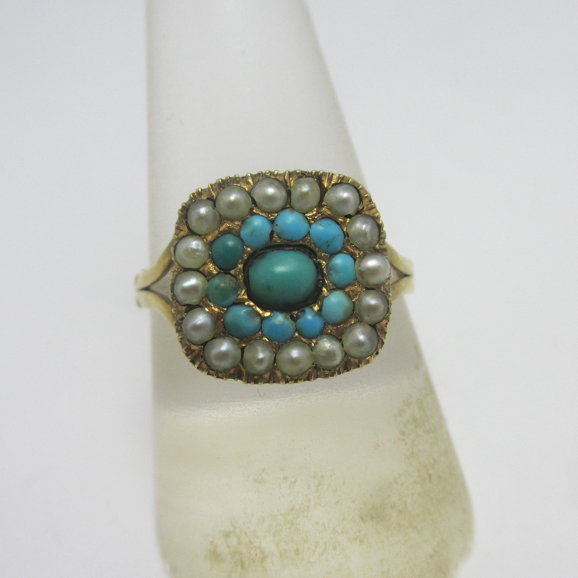 Turquoise & Seed Pearl 9k Gold Ring Antique Georgian c1820