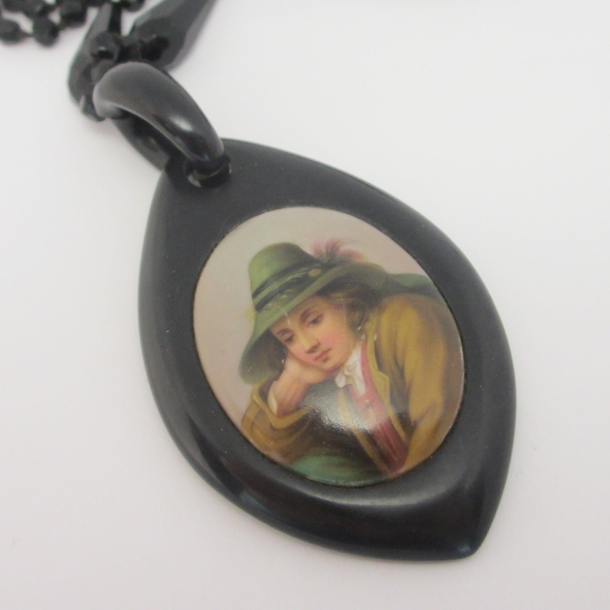 Whitby Jet Pendant Porcelain Portrait Necklace Antique Victorian c1860