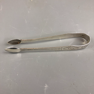 English Sterling Silver Sugar Tongs By John West Antique Georgian 1836-7