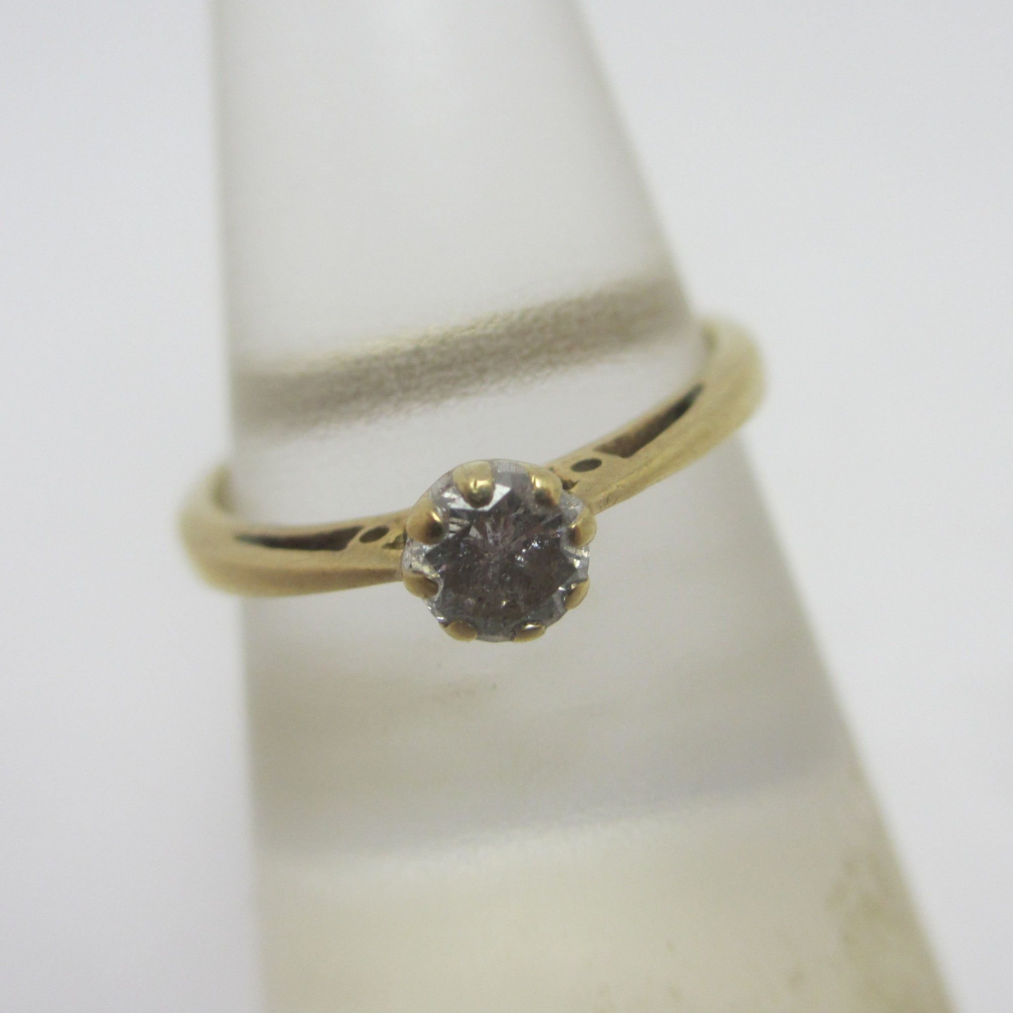 0.25ct Diamond 9k Gold Solitaire Ring Vintage c1970