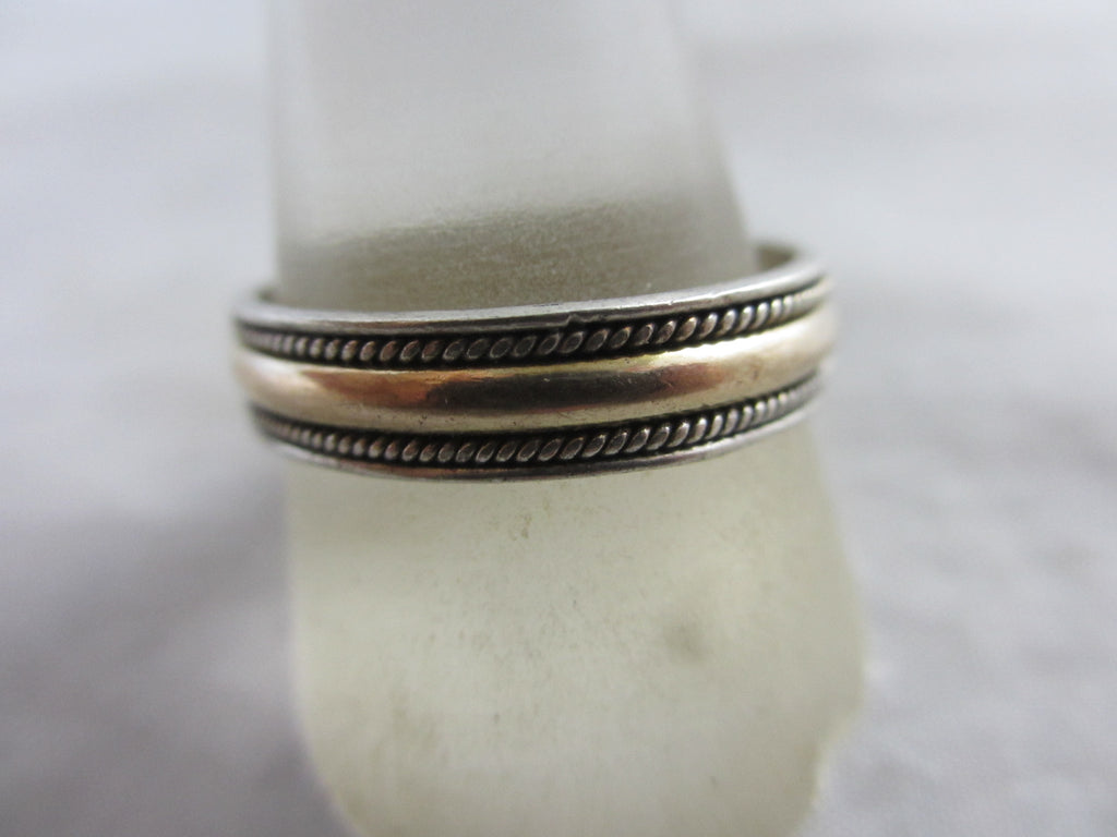 9k Gold Sterling Silver Ring Vintage c1980.