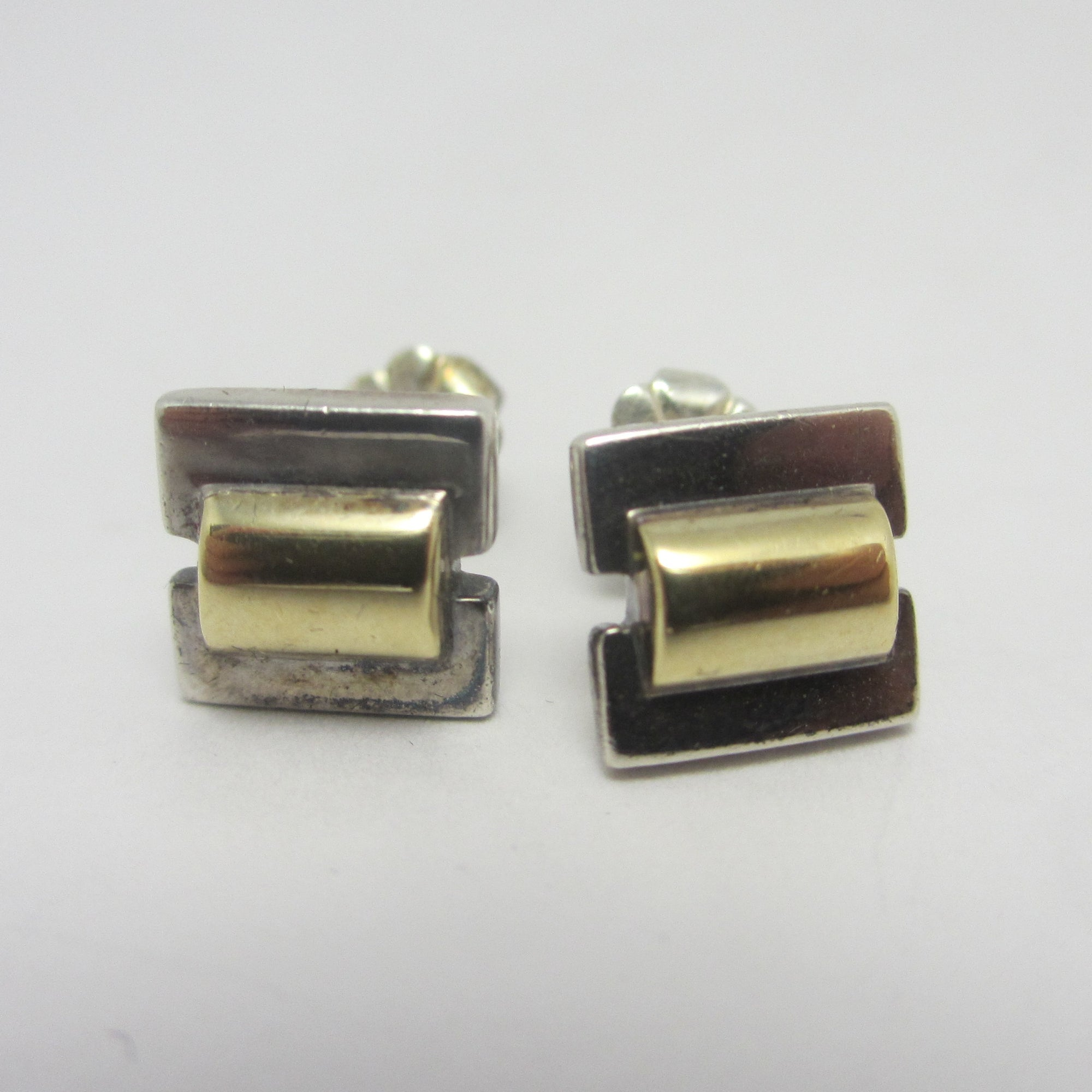 9k Gold Sterling Silver Stud Earrings Vintage 1958 English