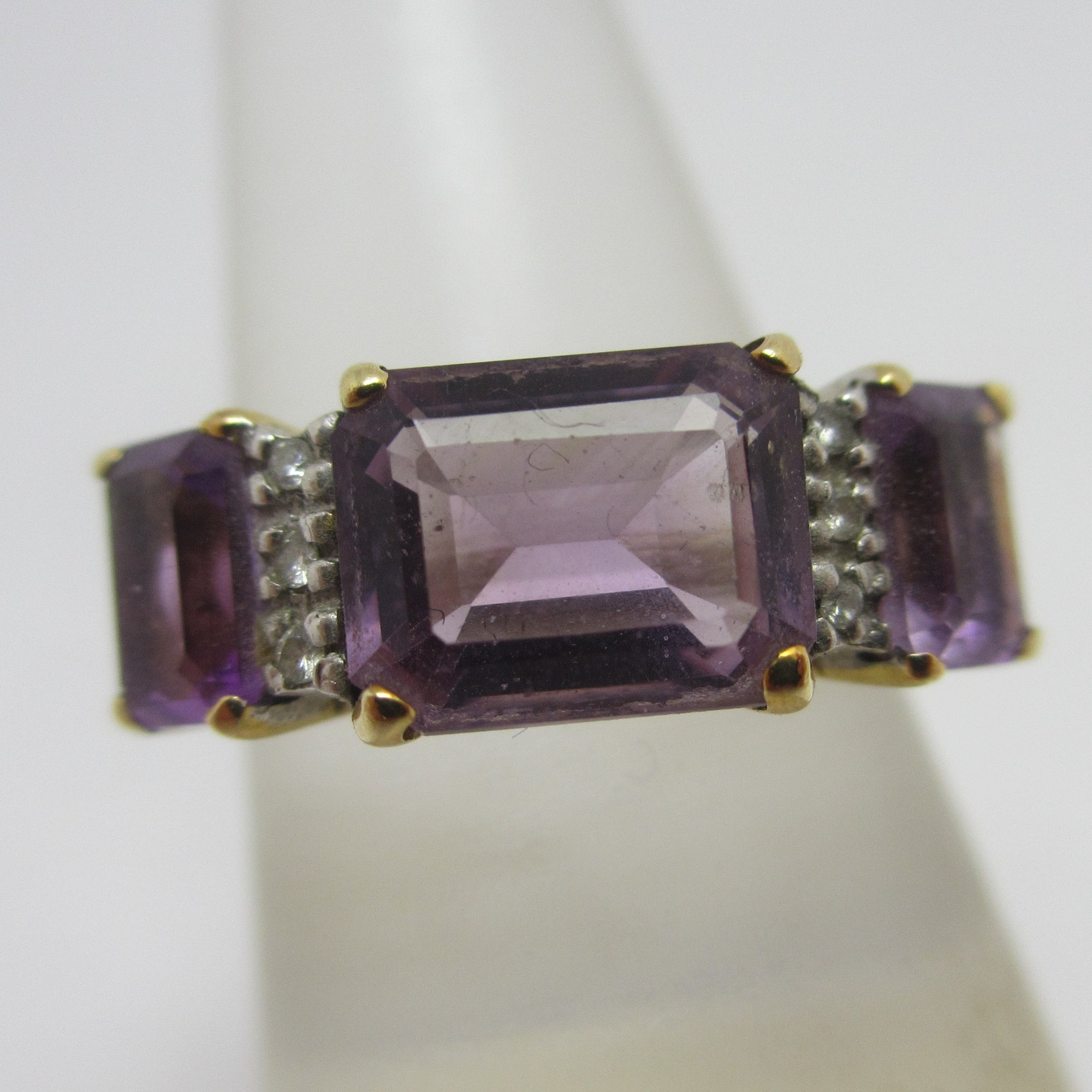 Baguette Cut Amethyst & Diamond 14k Gold Ring Vintage c1980.