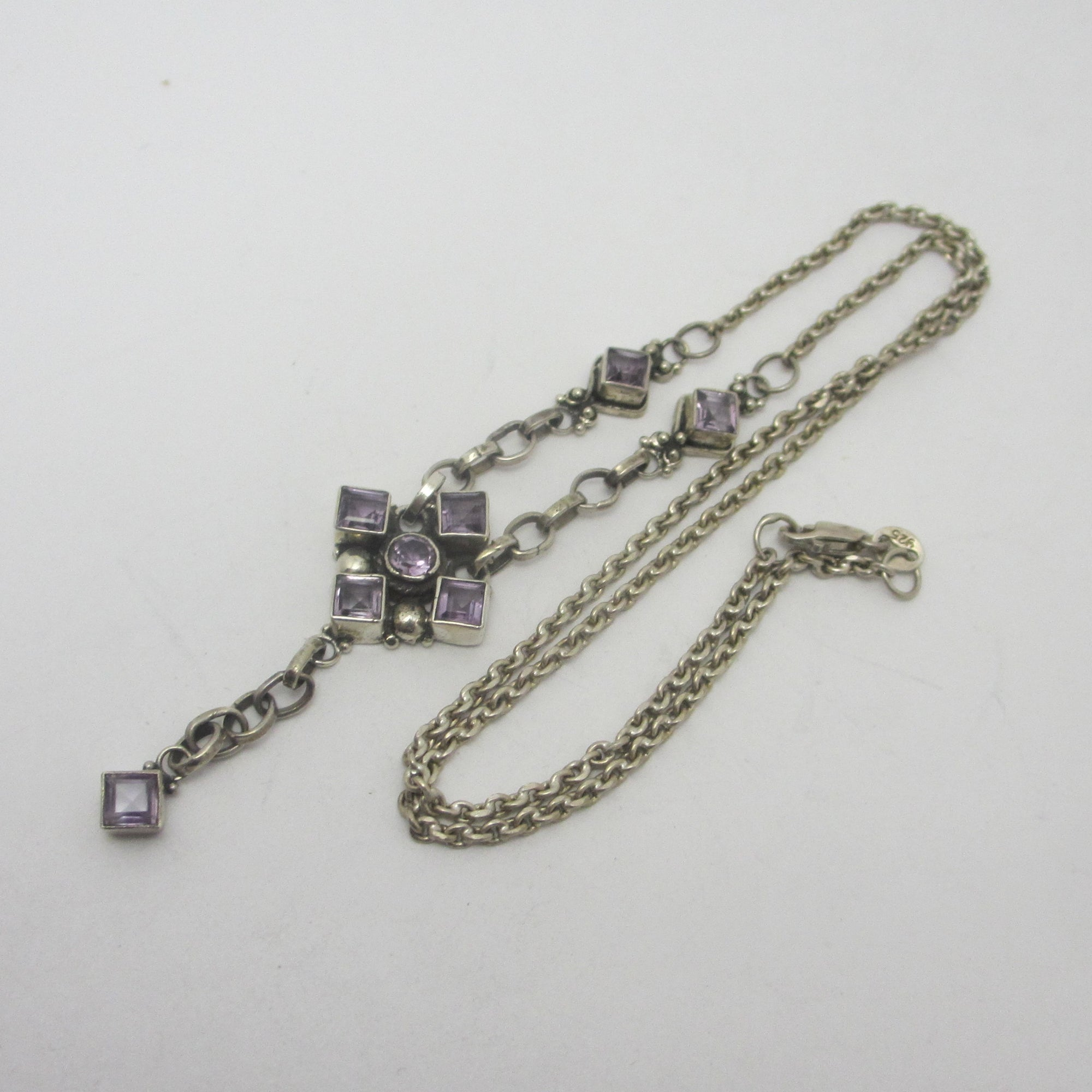 Amethyst in Sterling Silver Dangling Pendant Necklace Vintage c1980