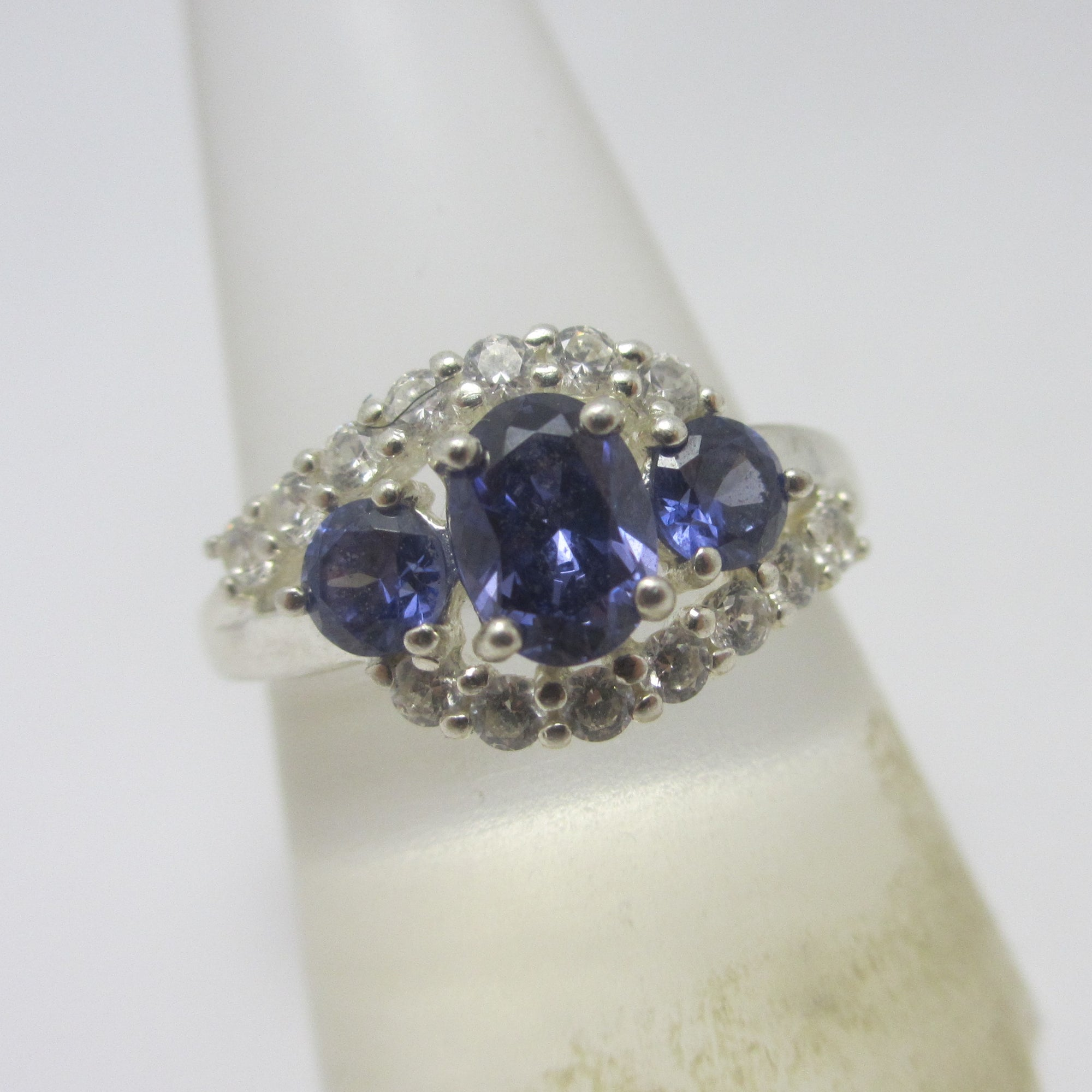 Blue Tourmaline DQCZ Diamond Sterling Silver Ring Vintage c1980