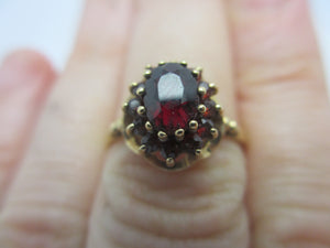 Bohemian Garnet 9k Gold Ring English Vintage 1972.