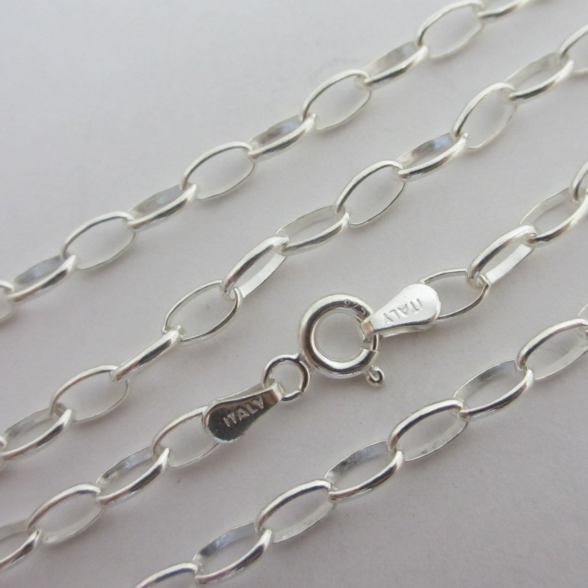 "Cable Link Sterling Silver Chain Necklace 45.5cm / 17.9"" Vintage c1980"